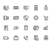 Business, commerce line icons on white. Eps 10 file, easy to edit Royalty Free Stock Images
