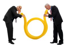Business Communication 1. Business Communication  with a yellow tube and two men Stock Photography