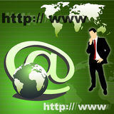 Business communication. Silhouette of business man, globe, internet symbol Stock Images