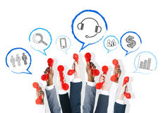 Business Communication Arms Raised With Telephone Stock Photography