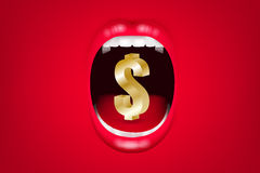 Business Communication Concept. Business Communication Concept : Money symbol in opened mouth with red background. 3D Illustration Royalty Free Stock Image