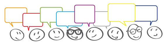 Business Communication Connection with speech bubbles. Stick figures with colorful dialog speech bubbles Royalty Free Stock Photography