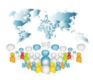 Business communication. Dialogue between different and diverse people. Crowd talking. Globalization. Interview. Isolated 3d Illust stock illustration