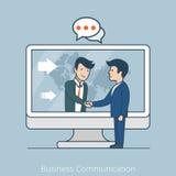 Business Communication Flat line art style busines Stock Image