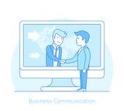 Business Communication Flat line art style people Royalty Free Stock Image