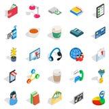 Business communication icons set, isometric style. Business communication icons set. Isometric set of 25 business communication vector icons for web isolated on Stock Photography