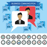 Business communication infographic with icons, persons and team members, flat design. Digital vector image Stock Images