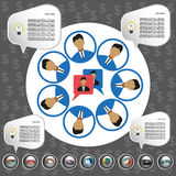 Business communication infographic with icons, persons and team members, flat design. Digital vector image Royalty Free Stock Images