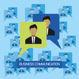Business communication infographic with icons, persons and team members, flat design. Digital vector image Stock Photography