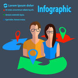 Business communication infographics male, female. Business man and woman in arrow circles with place indicator into colorful flat style with text. Vector royalty free illustration