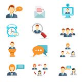 Business communication and web conference icons. Business online, communication and web conference icons in flat style Stock Photo