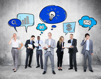 Business Communications Group with Icons Stock Photography