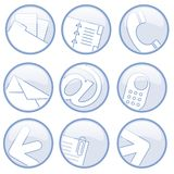 Business communications icons. A series of nine blue-on-white circular ions on the theme of various forms of business communications vector illustration