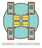 Business communications line icons. Business communications infographic metaphor with line icons. Business communications concept for website and infographics Royalty Free Stock Photos