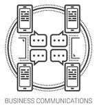 Business communications line icons. Business communications infographic metaphor with line icons. Business communications concept for website and infographics Stock Image