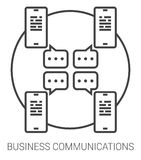 Business communications line infographic. Business communications infographic metaphor with line icons. Business communications concept for website and Stock Photography