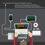 Business Communications Technology with people hand, digital tablet, smartphone, papers and various office objects on table. Flat Royalty Free Stock Photo