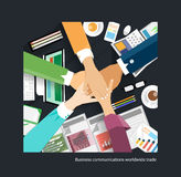 Business communications worldwide trading business handshake Stock Photography