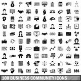 100 business community icons set, simple style. 100 business community icons set in simple style for any design vector illustration Stock Illustration