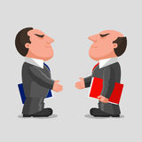 Business companions. Two men dressed in business suits with folders in their hands, are reaching out hands to each other for greeting. Business partnerships Royalty Free Stock Image
