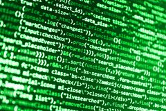 IT business company. Abstract screen of software. Abstract computer script code. Big data database app. Python programming develop vector illustration