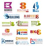 Business company and brand identity letter B. Letter B icons brand identity of business company and corporation design. Vector B set of premium quality boutique stock illustration