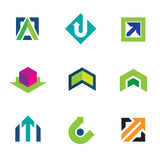 Business company economy green arrow progress logo icon set Royalty Free Stock Photography