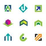 Business company economy green arrow progress logo icon set. Enjoy Royalty Free Stock Photography