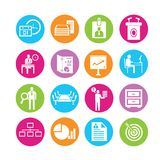 Business and company icons. Set of 16 business icons in colorful buttons Stock Image