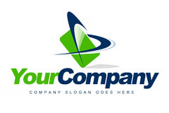 Business Company Logo. An illustration of a business company logo representing a green card and arrows Stock Photo