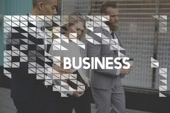 Business people walking outdoors and drinking coffee royalty free stock photos