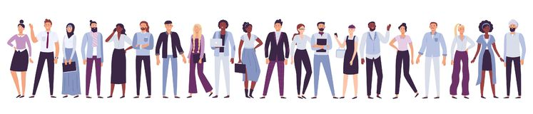 Business company people. Office team, multicultural collective workers group and businessman community vector