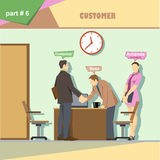 Business company roles situation infographics with boss, secretary and customer shaking hands at work Royalty Free Stock Images
