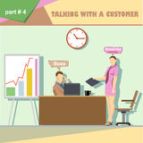Business company roles situation infographics with boss and talking with a customer and secretary at work Royalty Free Stock Photography