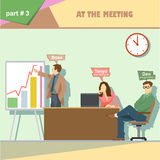 Business company roles situation infographics with boss, web designer and programmer in a meeting at work Stock Photography