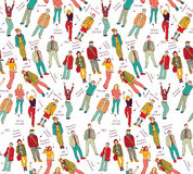 Business company team people with post color seamless pattern. Royalty Free Stock Photography