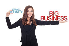 Business comparison. Businesswoman holding small business and big business in hands, comparison business different, isolated royalty free stock image