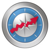 Business compass. Symbol predict the business situation in the world Royalty Free Stock Images