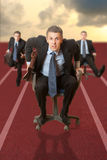 Business competition. Businessman running with a briefcase. Concept Royalty Free Stock Photos