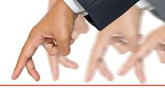 Business competition. Businessman hands as finger walking for competition or leadership concept Stock Photos