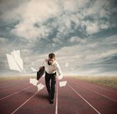 Business Competition. With running businessman on the track Stock Photos