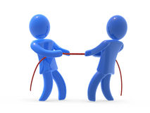 Business competition. Two figures warping wit rope. Concept of competition on the market Royalty Free Stock Image