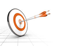 Business Competition or Advice Concept. Advice or business competition concept. One target and three arrows achieving their objectives. Perspective background Stock Images
