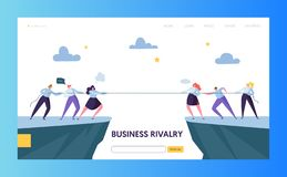Business Competition Challenge Landing Page Template. Rivalry Concept. Flat Businesspeople Character Pulling Rope. For Website or Web Page. Corporate Conflict royalty free illustration