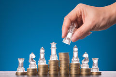 Business competition chess game Stock Image