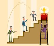 Business Competition Concept. Businessman competing for trophy, Business Competition Concept Royalty Free Stock Photos
