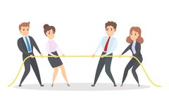 Business competition concept. Businessmen pulling a rope. Struggle for the success. Isolated vector illustration Stock Photography
