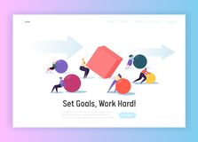 Business Competition Concept Landing Page. Corporate People Character Move Geometric Shapes for Teamwork. Challenge. Team Work Hard Progress Website or Web Page royalty free illustration