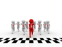 3d people - man, person and finish line. Success. Business Competition Concept, Leader Concept Stock Photos