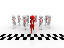3d people - man, person and finish line. Success. Business Competition Concept, Leader Concept Royalty Free Stock Photography